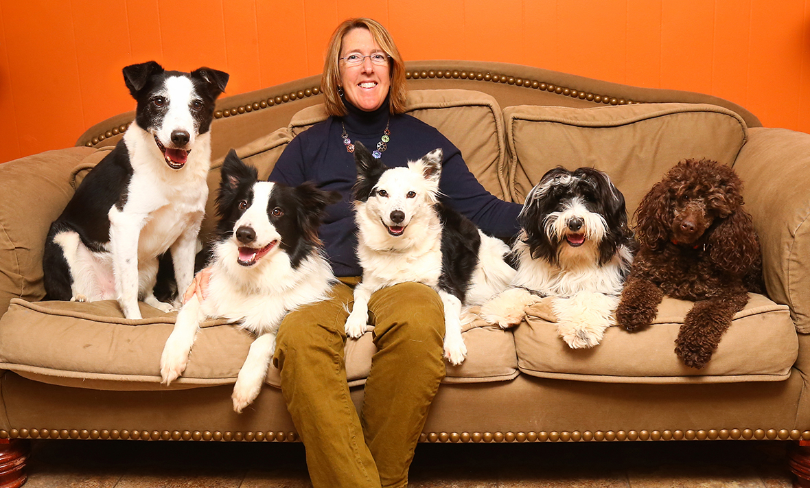 Sue with her dogs